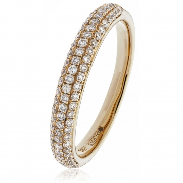 Diamond Pave Set Half Eternity Ring 0.55ct, 18k Rose Gold