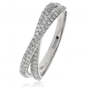 Diamond Pave Cross-Over Ring 0.50ct, 18k White Gold