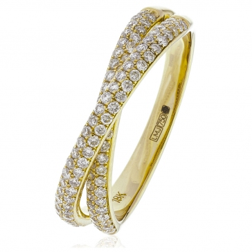 Diamond Pave Cross-Over Ring 0.50ct, 18k Gold