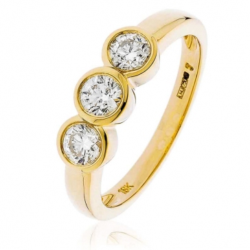 Diamond Trilogy Ring Bezel/Rub-Over Set 0.75ct, 18k Gold