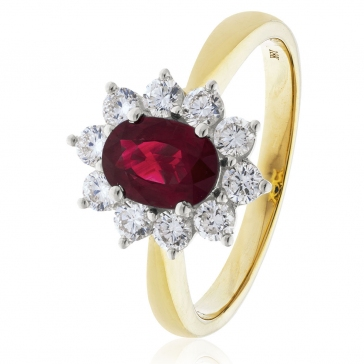 Diamond & Oval Cut Ruby Ring 2.50ct, 18k Gold