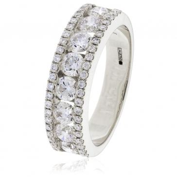 Diamond Channel Set Half Eternity Ring 1.50ct, 18k White Gold