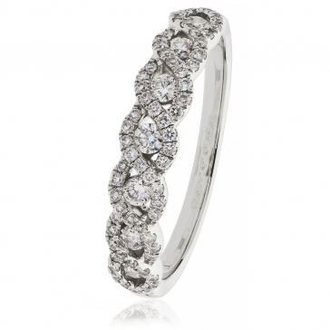 Diamond Half Eternity Plait Ring 1.00ct, 18k White Gold