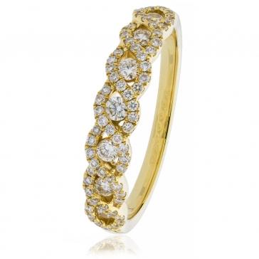 Diamond Half Eternity Plait Ring 1.00ct, 18k Gold