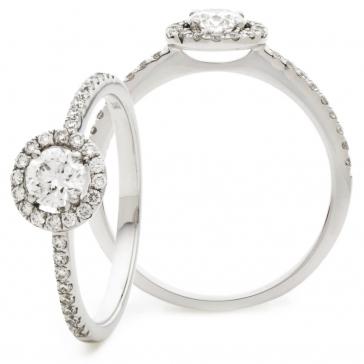 Diamond Halo Engagement Ring 1.07ct, 950 Platinum