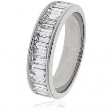 Diamond Baguette Half Eternity Ring 1.00ct, Platinum