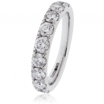 Diamond Half Eternity Ring 1.35ct. 950 Platinum, 3.6mm