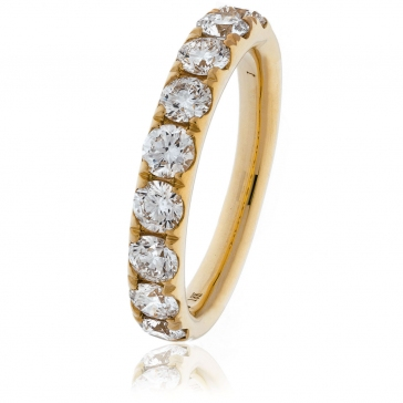 Diamond Half Eternity Ring 1.35ct, 18k Rose Gold