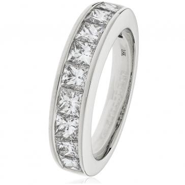 Diamond Princess Half Eternity Ring 1.50ct, Platinum