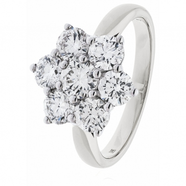 Diamond Cluster Seven Stone Ring 1.60ct, 18k White Gold