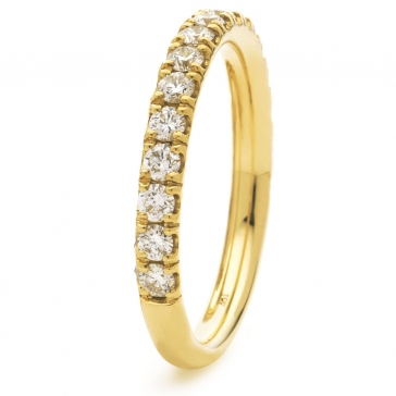 Diamond Half Eternity Ring 0.65ct, 18k Gold