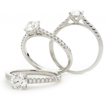 Engagement Ring with Diamond Daylight Shoulders, 18k White Gold