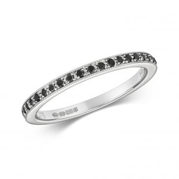 Black Diamond Half Eternity Ring 0.14ct 9k White Gold