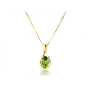 Diamond and Peridot Pear Cut Necklace, 9k Gold