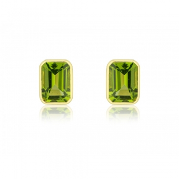 Peridot Octagonal Stud Earrings, 9k Gold