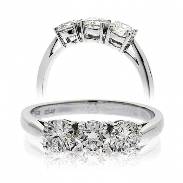 Classic Diamond Trilogy Ring 0.75ct, 18k White Gold