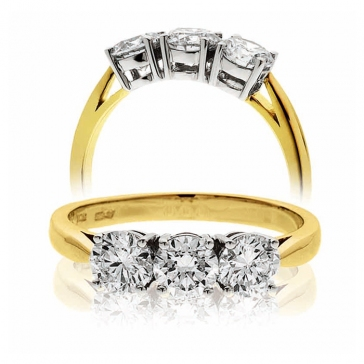 Classic Diamond Trilogy Ring 1.20ct, 18k Gold