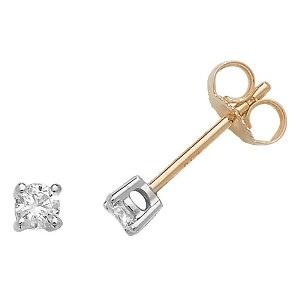 Classic Diamond Stud Earrings 0.20ct, 18k Gold