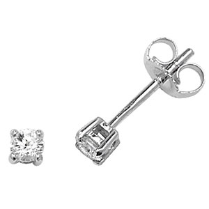 Classic Diamond Stud Earrings 0.20ct, 18k White Gold