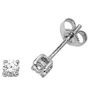 Classic Diamond Stud Earrings 0.33ct, 18k White Gold