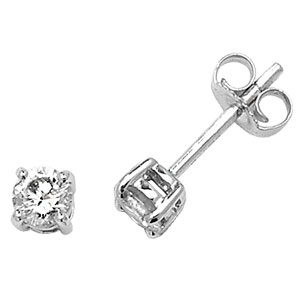 Classic Diamond Stud Earrings 0.50ct, 9k White Gold