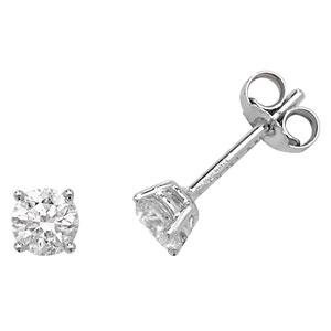 Classic Diamond Stud Earrings 0.66ct, 18k White Gold