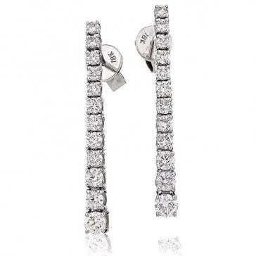 Diamond 12 Stone Drop Earrings 1.20ct, 18k White Gold