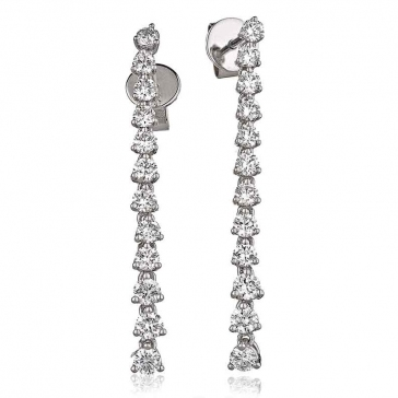 Diamond 12 Stone Drop Earrings 1.25ct, 18k White Gold