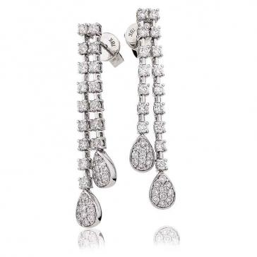 Diamond 2 Strand Pear Drop Earrings 1.25ct, 18k White Gold