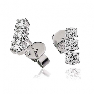 Diamond 3 Stone Trilogy Earrings 0.60ct, 18k White Gold