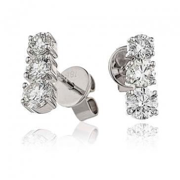 Diamond 3 Stone Trilogy Earrings 1.00ct, 18k White Gold