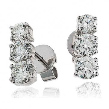 Diamond 3 Stone Trilogy Earrings 1.25ct, 18k White Gold
