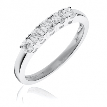 Diamond 5 Stone Ring 0.50ct, 18k White Gold
