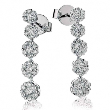 Diamond 5 Tier Cluster Earrings 1.00ct, 18k White Gold