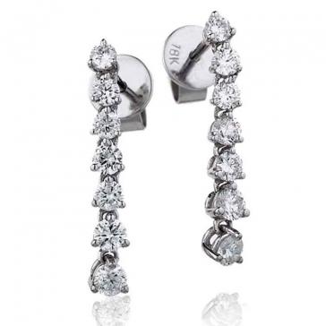 Diamond 7 Stone Drop Earrings 0.75ct, 18k White Gold