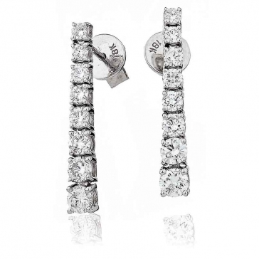 Diamond 8 Stone Drop Earrings 1.10ct, 18k White Gold