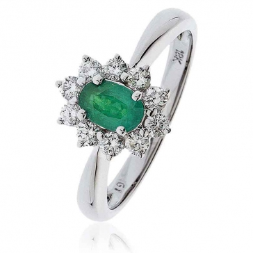Diamond & Oval Cut Emerald Ring 1.00ct, 18k White Gold