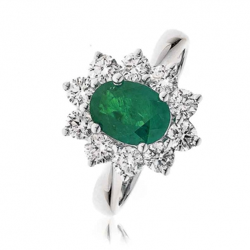 Diamond & Oval Cut Emerald Ring 2.50ct, 18k White Gold