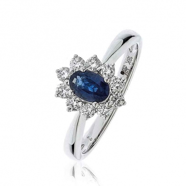 Diamond & Oval Cut Sapphire Ring 0.85ct, 18k White Gold