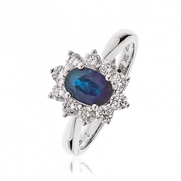 Diamond & Oval Cut Sapphire Ring 1.60ct, 18k White Gold