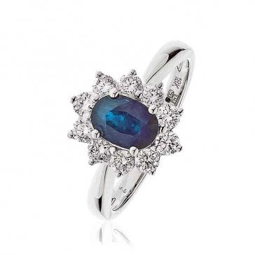 Diamond & Oval Cut Sapphire Ring 1.60ct, 18k White Gold