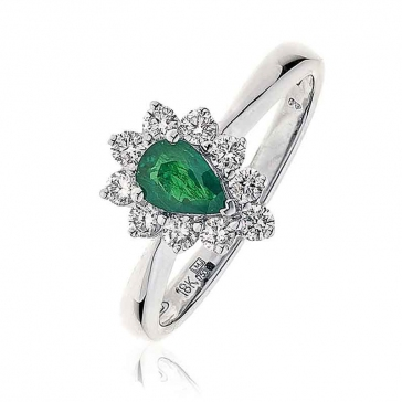 Diamond & Pear Cut Emerald Ring 0.78ct, 18k White Gold