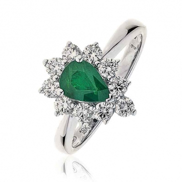 Diamond & Pear Cut Emerald Ring 1.50ct, 18k White Gold