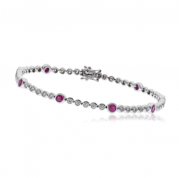 Diamond & Ruby Tennis Bracelet 2.75ct H/SI, 18k White Gold