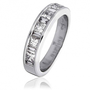 Diamond Baguette & Princess Ring 1.10ct, 18k White Gold