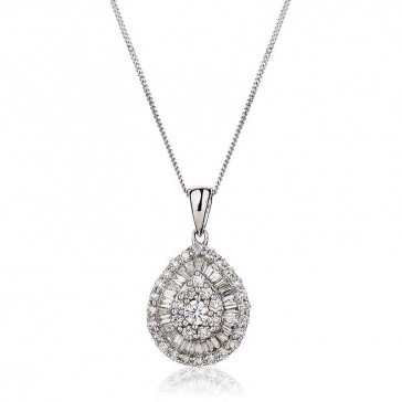 Diamond Baguette & Round Cut Necklace 0.65ct, 18k White Gold