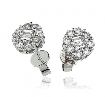 Diamond Baguette Cluster Earrings 0.90ct, 18k White Gold
