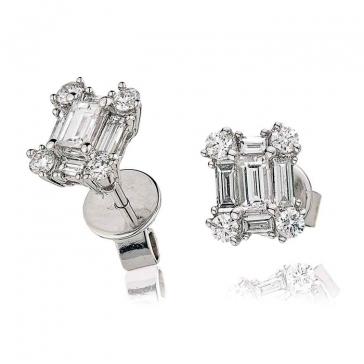 Diamond Baguette Earrings 0.80ct, 18k White Gold