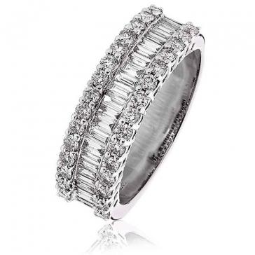 Diamond Baguette Half Eternity Ring 1.10ct, Platinum