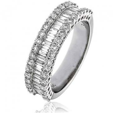 Diamond Baguette Half Eternity Ring 1.50ct, Platinum